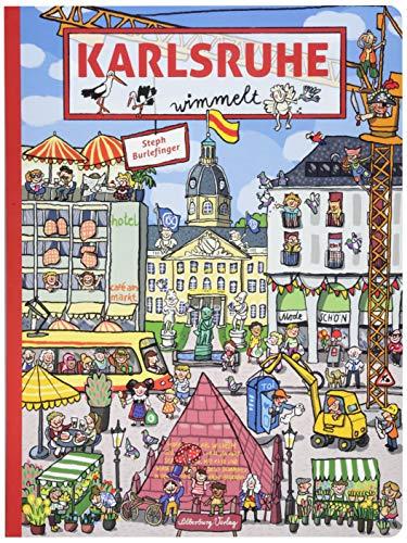 Karlsruhe wimmelt. Wimmelspaß total auf den Plätzen und Straßen der Fächerstadt. In dem liebevoll gestalteten Buch gibt es für Kinder, Eltern und Großeltern gleichermaßen viel zu entdecken.